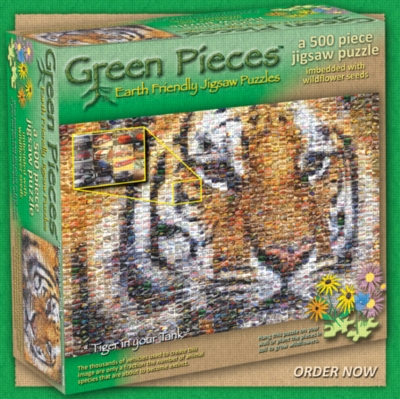 Green Pieces: Tiger In Your Tank - 500pc TDC Photomosaic & Earth-Friendly Jigsaw Puzzle