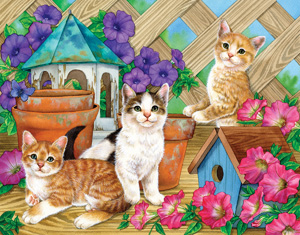 Petunia Playmates - 300pc Large Format Jigsaw Puzzle by Great American Puzzle Factory