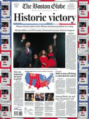 Boston Globe: Historic Victory, Barack Obama - 550pc Jigsaw Puzzle by White Mountain