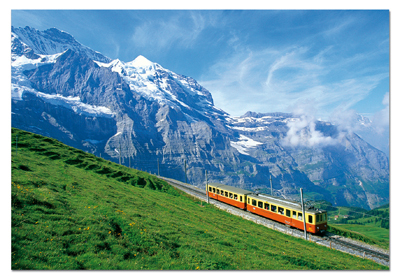 Educa Jigsaw Puzzles - Train Near Jungfrau Mountain