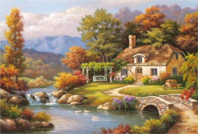 Sung Kim: Cottage Stream - 8000pc Jigsaw Puzzle by EDUCA