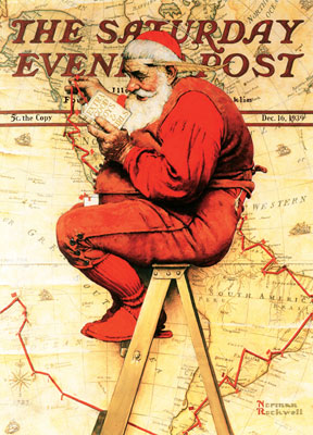 Norman Rockwell: Santa at the Map - 500pc Jigsaw Puzzle by Masterpieces