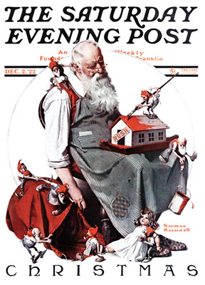 Norman Rockwell: Santa with Elves - 500pc Jigsaw Puzzle by Masterpieces