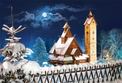 Wang Church, Poland - 1000pc Jigsaw Puzzle by Castorland