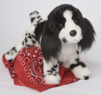 Feathers Black and White Springer Spaniel - 12'' Dog By Douglas Cuddle Toys