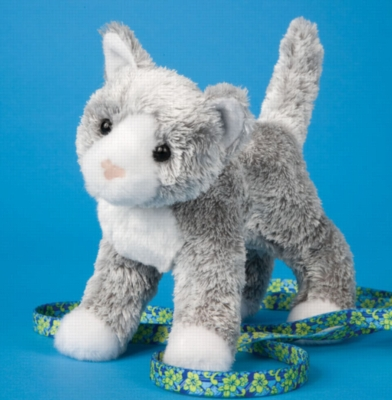 """Scatter Gray Cat - 6.5"""" Cat By Douglas Cuddle Toy"""