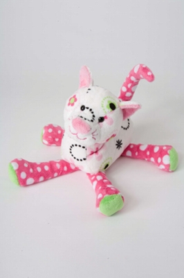 "Hillary Hot Pink Fizz Cat - 10"" Cat By Douglas Cuddle Toy"