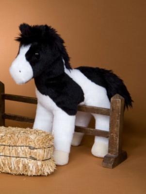 "Valiant Black/White Paint Horse - 9"" Horse By Douglas Cuddle Toy"