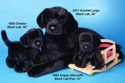 Angus Black Lab Puppy - 13'' Dog By Douglas Cuddle Toys