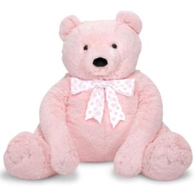 "Jumbo Pink Teddy Bear - 30"" High, Sitting Plush Bear by Melissa & Doug"