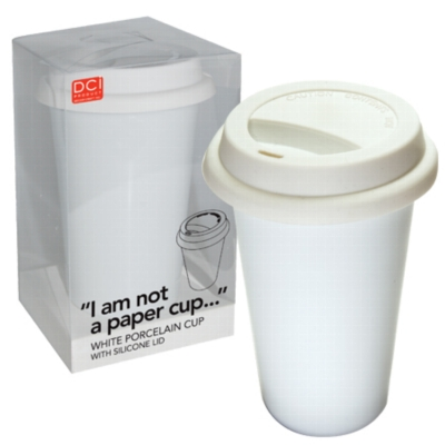 I Am Not A Paper Cup - Thermal Double Walled Porcelain Cup w/ Silicone Lid