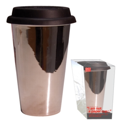 "&quotI Am Not A Paper Cup"" - Silver Edition - Thermal Double Walled Porcelain Cup w/ Silicone Lid"