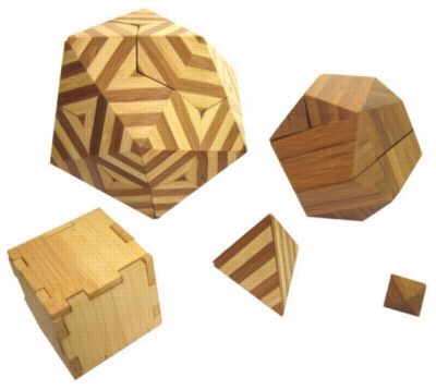 All Five: Nested Platonic Solids - Wooden Brain Teaser