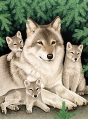 Wolf Family - 1000pc Jigsaw Puzzle by Bits & Pieces