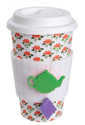 Eco Cup Tea Lovers Rose - Porcelain Cup w/ Silicone Lid
