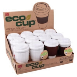 Eco Cup - Porcelain Cup w/ Silicone Lid Case