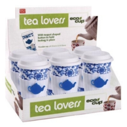 Eco Cup Tea Lovers Blue - Porcelain Cup w/ Silicone Lid Case