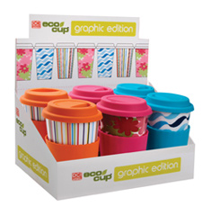 Eco Cup Graphic Edition - Porcelain Cup w/ Silicone Lid - Assorted Case of 6