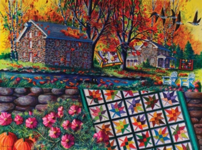 Jigsaw Puzzles - Stone Mill Crossing in Autumn