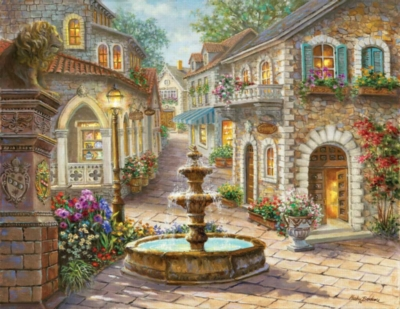 Large Format Jigsaw Puzzles - Cobblestone Fountain