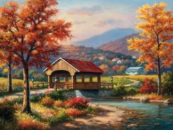 Jigsaw Puzzles - Covered Bridge in Fall